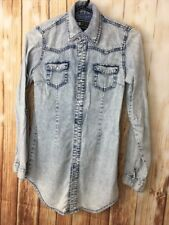 YES YES JEANS Womens Denim Long Sleeves Top Popper Button Tunic Shirt UK6 Cotton