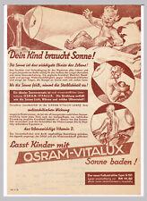 Werbeblatt OSRAM Vitalux Lampe 1934 Volksstrahler Dein Kind braucht Sonne! UV