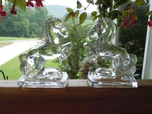 Vtg Pair of Fostoria Crystal Rearing Horse Bookends Clear Glass