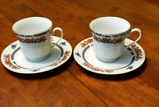 Crown Ming Old Imari Porcelain China Cup & Saucer Set of 2