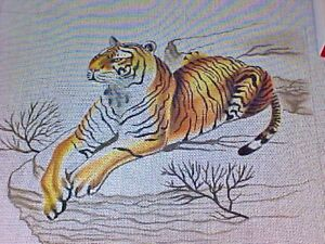 Needlepoint Canvas Hand Stitch Painted Leigh Tiger 18 Count 19 1/2 x 16 Inches