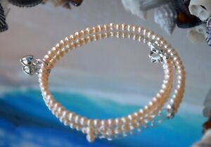 Peach Freshwater Pearl & .925 Sterling Silver Anklet 9 to 10 Inch + Heart Charm