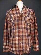 e3269602e3 Gap Western Shirt M Mens Orange Navy Plaid Pearl Snap 70s 80s VTG