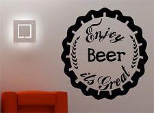 ENJOY BEER wall art quote sticker vinyl decor Kitchen lounge pub bar