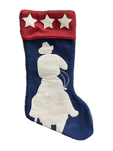 Christmas Stocking Western Cowboy Decor faux suede blue felt boot horse