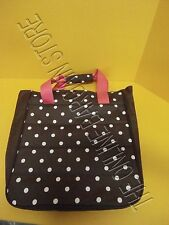 Pottery Barn PB Teen Kids Jet Set Luggage Bag tote Dottie Polka Dot Brown Pink