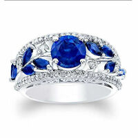 14K Hallmarked White Gold Real 1.92 Ct Diamond Natural Blue Sapphire Ring Size N