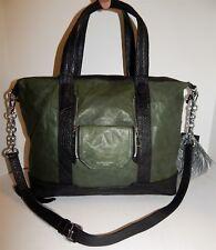 New Olivia Harris Cobain Green Black Leather 2way Satchel Crossbody Bag $658rt