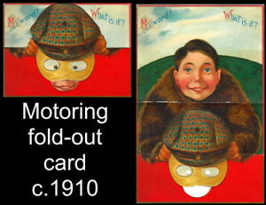 c1910 Motoring novelty Christmas Card motorist with cap & goggles in vintage car