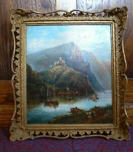 Antique swept old gold frame Italian Oil Painting Curborough Hall Country House