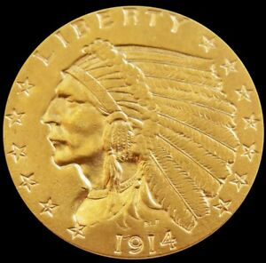 1914 GOLD UNITED STATES $2.5 DOLLAR INDIAN HEAD QUARTER EAGLE COIN BETTER DATE