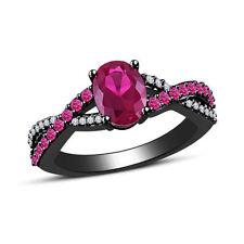 Wedding Sapphire Oval Sterling Silver Fine Gemstone Rings