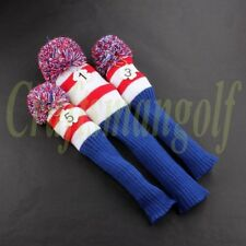 Knit Vintage Pom Pom Headcover 3 pcs Driver Wood Head Cover Golf Club Red Blue