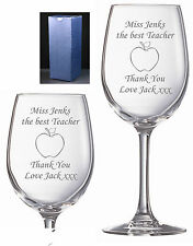 Personalised Engraved Wine Glass Teacher Apple any names gift Free Gift Box