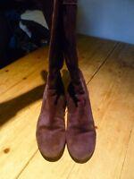 Fabulous BODEN Deep Purple Suede Knee High Wedge Heel BOOTS, 39, UK 6