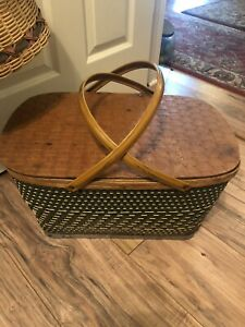 Vintage Hawkeye Burlington Picnic Basket  Woven Metal Handles Wood Top