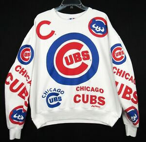 Vintage Chicago Cubs All Over Print Sweatshirt XL Majestic Logos Graphic Crew