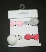 New Carter's Girls 4 Pack Hair Clips Accessory NWT Clip Barrette Bows Puff Balls
