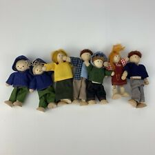 Lot 7 Wood Doll Family Occupations Multicultural Plan Toys Wooden Bendable