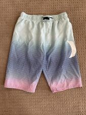 Hurley Boys Swim Trunks Shorts Blue/Aqua/Pink Striped Swimsuit Euc Xl