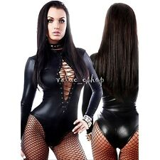 Sissy Women's Shiny Lingerie Lace Up Leather High Cut Catsuit Bodysuit Jumpsuit