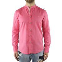 Camicia Uomo Collo Coreana Cotone Corallo Casual Slim FIt Manica Lunga Effetto L