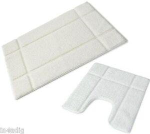 Orla Microfiber Bath Pedestal Mat 2PC Set Full Rubber Back Soft Machine Washable