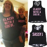 Family Outfit Clothes Mother Daughter Matching T-shirt Women Kids Girl Vest Tops