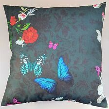 """Cushion Cover in Next Twilight Floral Butterfly Print 16"""" Matches Curtains"""