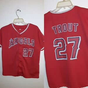 Mike Trout Los Angeles LA Anaheim Angels Youth XL 42 x 24 Baseball Jersey #27