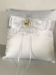 Western Wedding Ring Pillow, White Satin with Gold Cowboy Boot Charms
