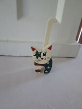 "4.5"" Americana Patriotic Wood Cat Shelf Sitter Figurine, 4th of July,  New"