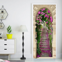 3D Stone Step Arch Flower Leaves Living Room Door Mural Wallpaper Wall Sticker