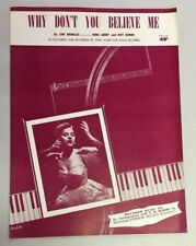 Vintage Piano Sheet Music WHY DON'T YOU BELIEVE ME - Photo Joni James