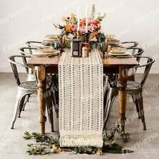 Moroccan Table Runner with tassel Hollow Braided Cotton Wedding Home Party Decor