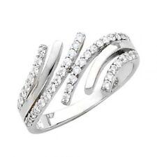 14K Solid White Gold Round Cut CZ Fancy Ladies Ring
