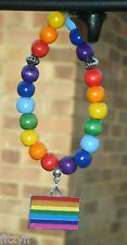 In Car Rainbow Flag Charm & Wooden Beads Pride LGBT Gay Diversity Symbol Sign
