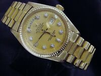 Mens Rolex Day-Date President 18K Yellow Gold Watch Bark Champagne Diamond