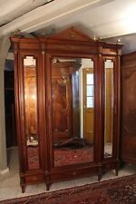 Importante armoire bibliothèque acajou massif décor colonne bronze Empire