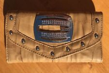Guess Women's Brown Faux Croc Studded Rhinestone Hardware Trifold Wallet