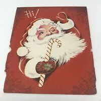 Vintage Christmas Card 1940s-50s Santa Claus Candy Came Greeting Paper USA