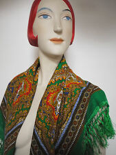 Russisches Tuch Schultertuch Schal Wolle 83x88 TRUE VINTAGE russ flower scarf