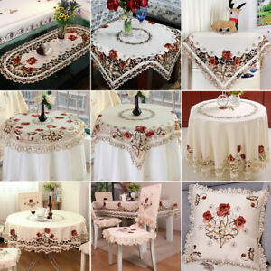 White Embroidered Lace Tablecloth Floral Table Runner Doily Wedding Party Satin