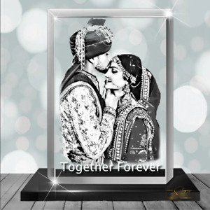Solid Crystals Personalised 2D Crystal Cube Photo in Glass Gift Engraved