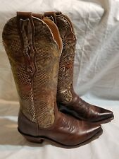 Boulet Snip Toe Wing Tip Boots 6c Women's s brown leather Snake