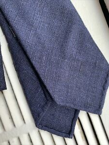 New Drake's London Tie Navy Hand Rolled Tussah Silk England
