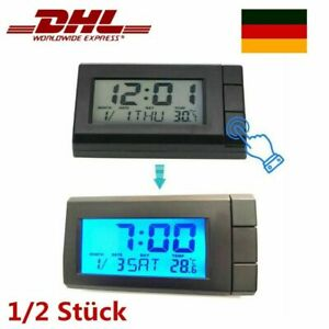 1/2X Mini Auto Thermometer Digitales Uhr LED Digitaluhr für PKW Auto LKW KFZ DHL