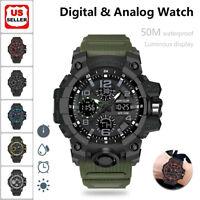 SANDA Military Backlight Dual Time Waterproof Digital Analog Wristwatch Watch US