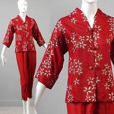 Xs Vintage 1950s 50s Deadstock Separates Cotton Cigarette Pants Hawaiian Tunic