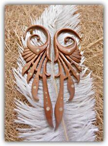 Tribal Carved Wood Ear Gauge Expander Body Piercing Organic Hook Stretcher Plug